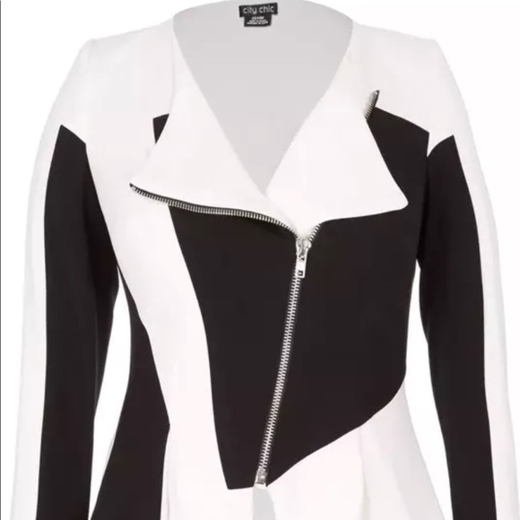 a10850665cd98 City Chic black   white biker plus size jacket 18W